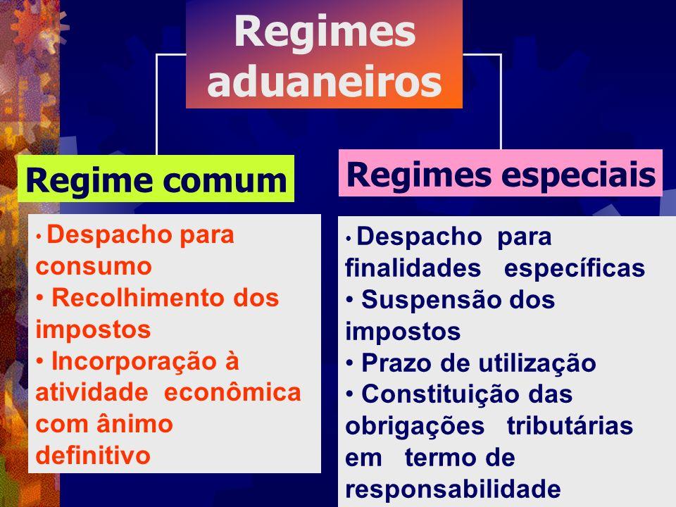 Regimes aduaneiros Regime comum Regimes especiais Despacho para consumo Recolhimento dos impostos Incorporação à atividade econômica com ânimo definit
