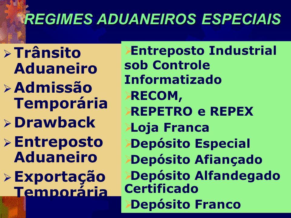REGIMES ADUANEIROS ESPECIAIS Trânsito Aduaneiro Admissão Temporária Drawback Entreposto Aduaneiro Exportação Temporária Entreposto Industrial sob Cont