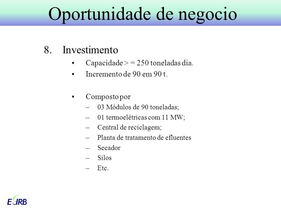 8.Investimento Capacidade > = 250 toneladas dia.Incremento de 90 em 90 t.