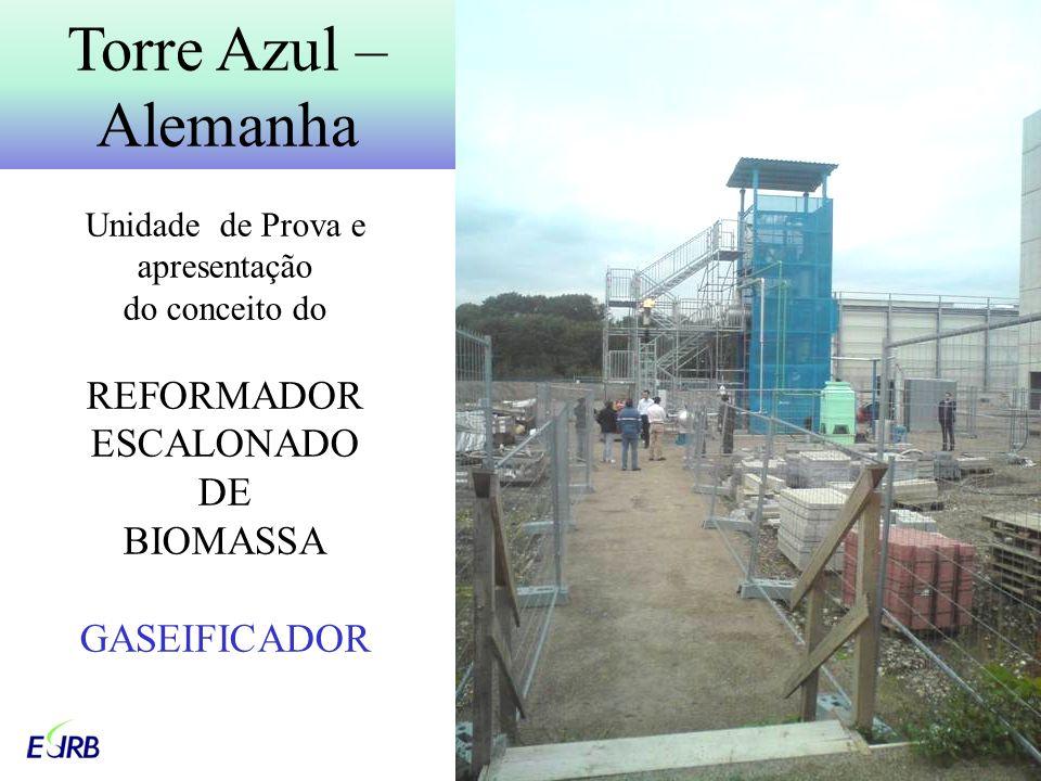 Unidade de Prova e apresentação do conceito do REFORMADOR ESCALONADO DE BIOMASSA GASEIFICADOR Torre Azul – Alemanha