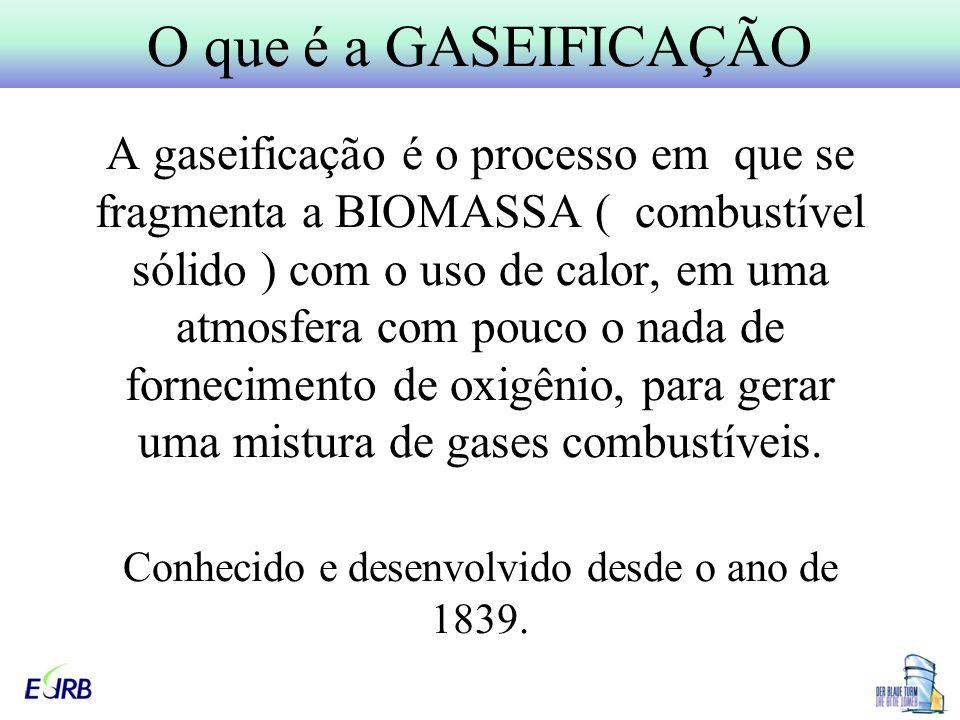 A gaseificação é o processo em que se fragmenta a BIOMASSA ( combustível sólido ) com o uso de calor, em uma atmosfera com pouco o nada de fornecimento de oxigênio, para gerar uma mistura de gases combustíveis.