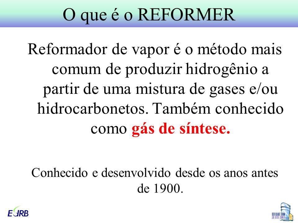 Reformador de vapor é o método mais comum de produzir hidrogênio a partir de uma mistura de gases e/ou hidrocarbonetos.