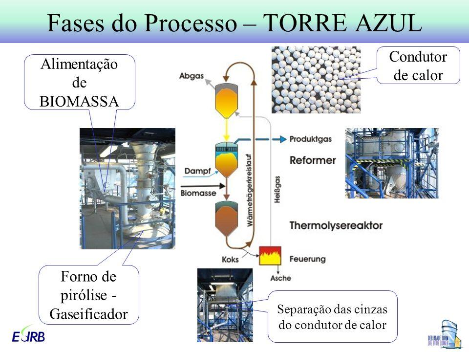 Fases do Processo – TORRE AZUL Condutor de calor Forno de pirólise - Gaseificador Alimentação de BIOMASSA Separação das cinzas do condutor de calor