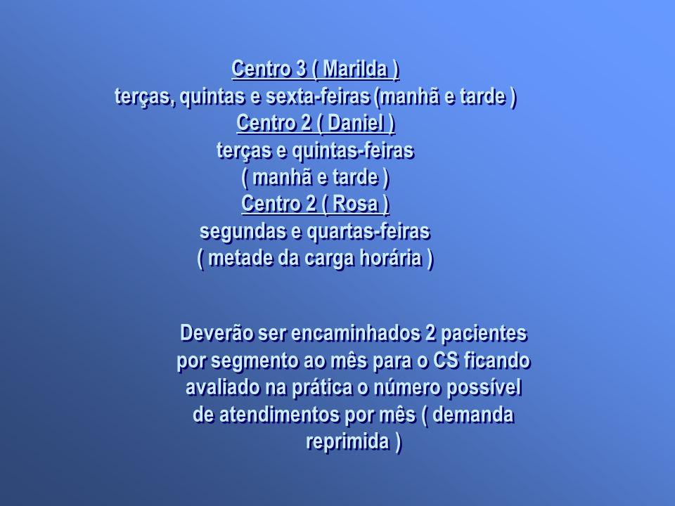 Centro 3 ( Marilda ) terças, quintas e sexta-feiras (manhã e tarde ) Centro 2 ( Daniel ) terças e quintas-feiras ( manhã e tarde ) Centro 2 ( Rosa ) s