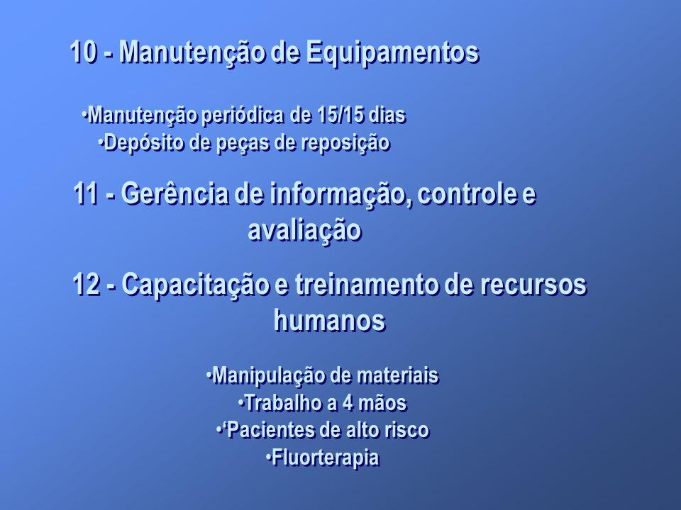 10 - Manutenção de Equipamentos Manutenção periódica de 15/15 dias Depósito de peças de reposição Manutenção periódica de 15/15 dias Depósito de peças