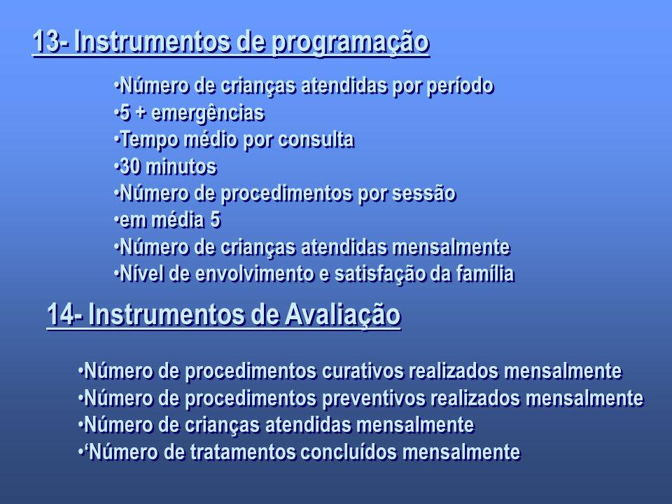 13- Instrumentos de programação Número de crianças atendidas por período 5 + emergências Tempo médio por consulta 30 minutos Número de procedimentos p