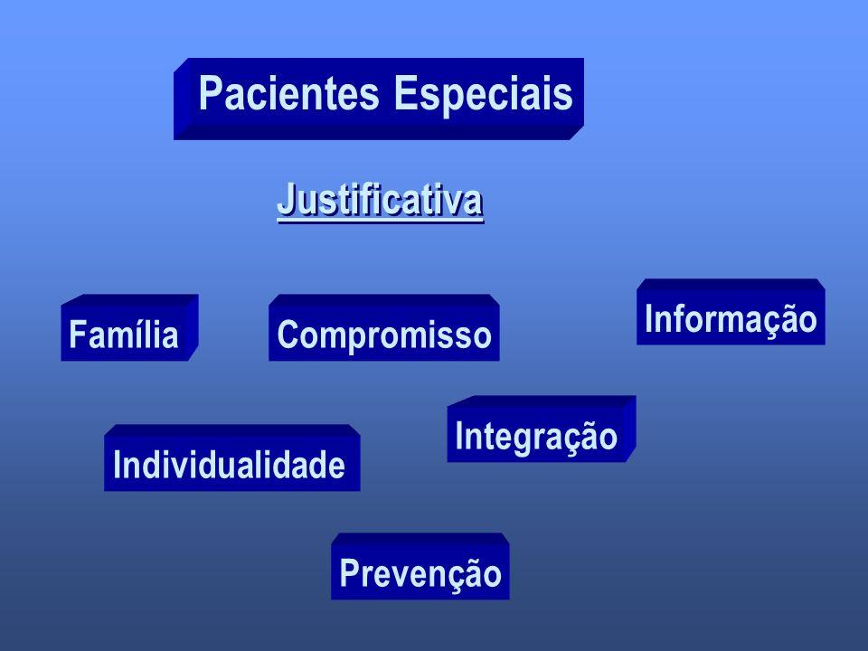 Pacientes Especiais Justificativa FamíliaCompromisso Individualidade Integração Prevenção Informação