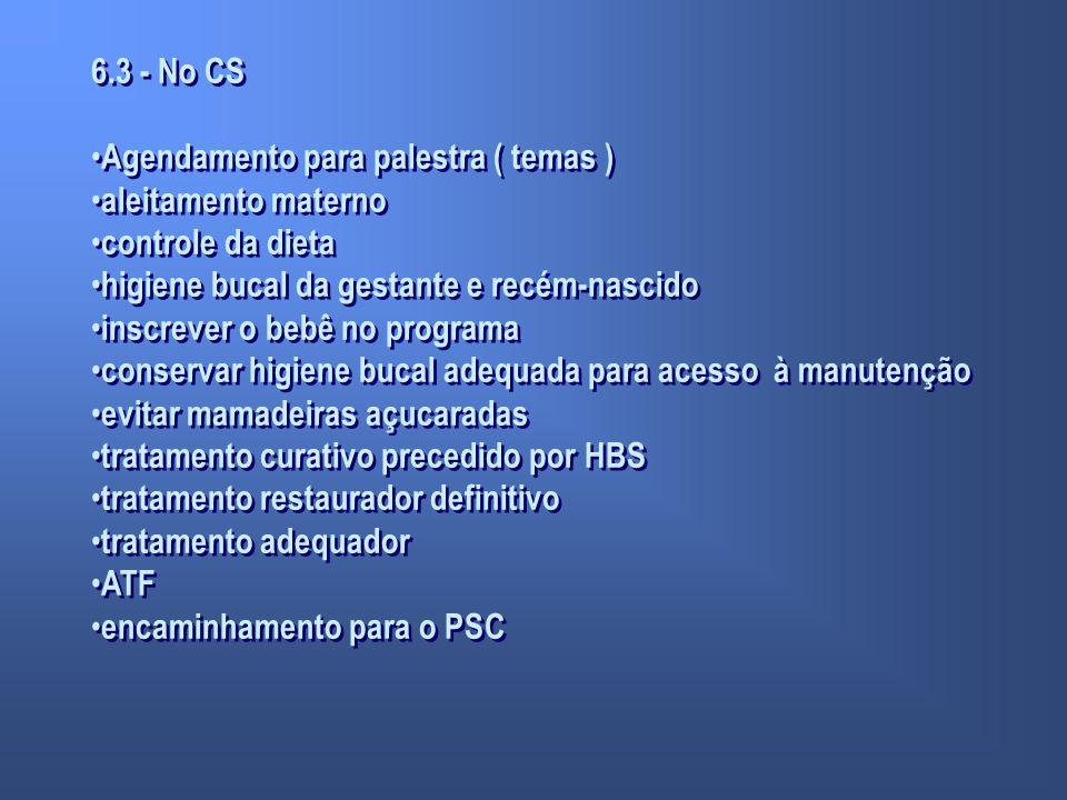 6.3 - No CS Agendamento para palestra ( temas ) aleitamento materno controle da dieta higiene bucal da gestante e recém-nascido inscrever o bebê no pr