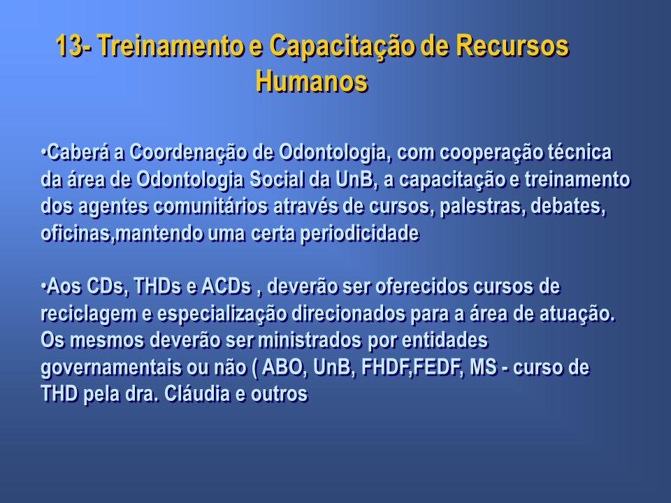 13- Treinamento e Capacitação de Recursos Humanos Caberá a Coordenação de Odontologia, com cooperação técnica da área de Odontologia Social da UnB, a