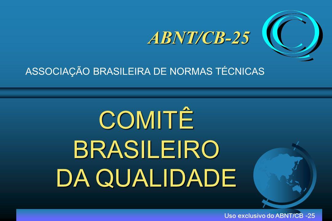 Origem ABNT/CB 25 Uso exclusivo do ABNT/CB -25 PBQP – Programa Brasileiro da Qualidade 1992 ABNT/CB25 – Comitê Brasileiro da Qualidade FNQ – Fundação Nacional da Qualidade