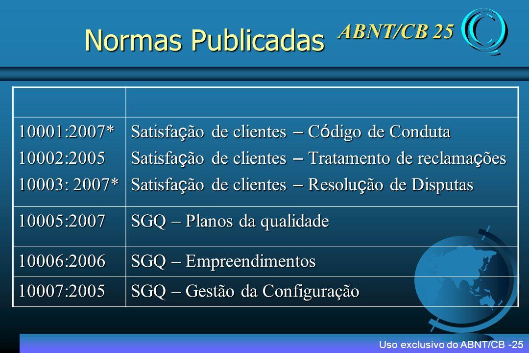 ABNT/CB 25 Projeto IV - Disseminação INMETRO Catalogo de empresas certificadas INMETRO Encontro de Credibilidade da Certificação INMETRO e ABNT/CB25 Cursos e workshops sobre as normas de Sistemas de Gestão da Qualidade e Tecnologias de suporte ABNT/CB25 Seminário Internacional de SGQ ABNT/CB25 Interpretação das normas ISO 9000 Uso exclusivo do ABNT/CB -25 Produtos e Serviços