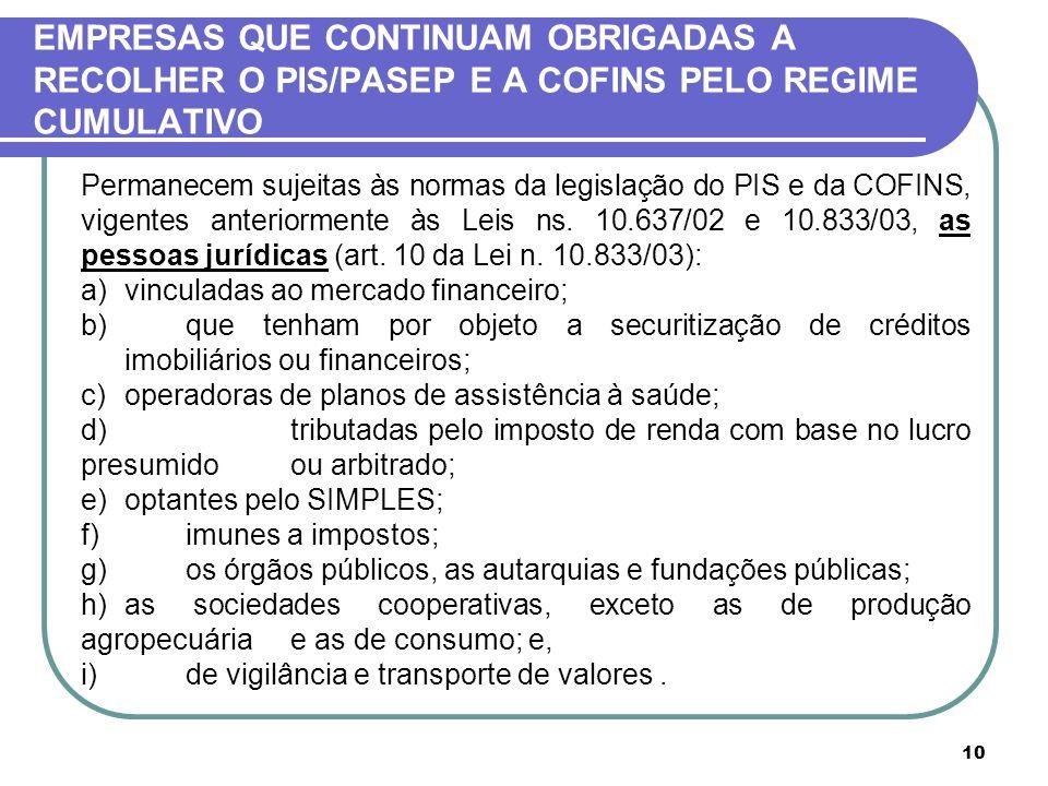 10 EMPRESAS QUE CONTINUAM OBRIGADAS A RECOLHER O PIS/PASEP E A COFINS PELO REGIME CUMULATIVO Permanecem sujeitas às normas da legislação do PIS e da C
