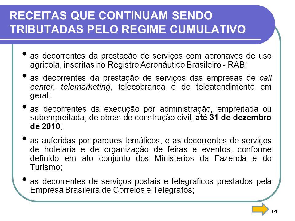 14 RECEITAS QUE CONTINUAM SENDO TRIBUTADAS PELO REGIME CUMULATIVO as decorrentes da prestação de serviços com aeronaves de uso agrícola, inscritas no