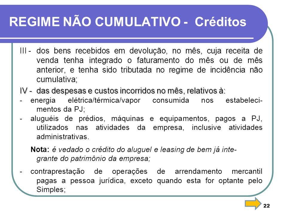 REGIME NÃO CUMULATIVO - Créditos III -dos bens recebidos em devolução, no mês, cuja receita de venda tenha integrado o faturamento do mês ou de mês an