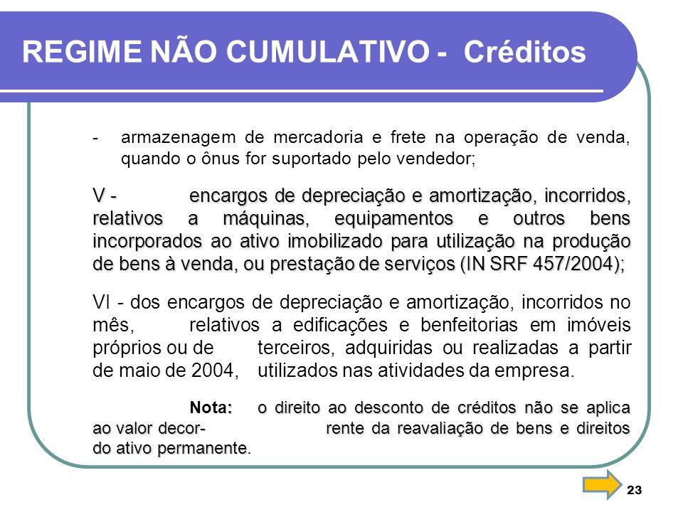 REGIME NÃO CUMULATIVO - Créditos - armazenagem de mercadoria e frete na operação de venda, quando o ônus for suportado pelo vendedor; V - encargos de