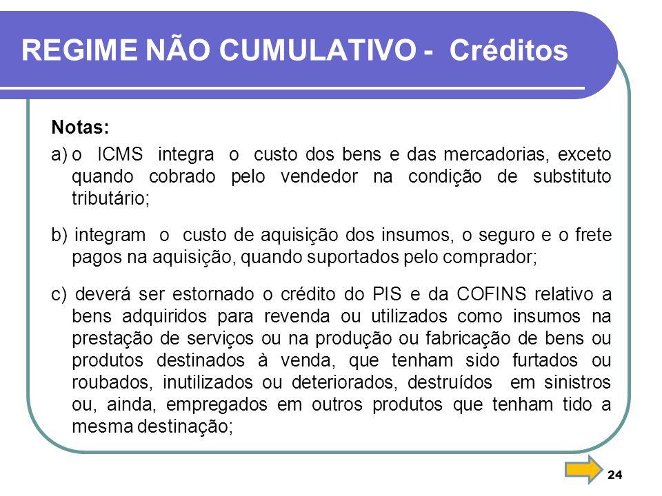 REGIME NÃO CUMULATIVO - Créditos Notas: a)o ICMS integra o custo dos bens e das mercadorias, exceto quando cobrado pelo vendedor na condição de substi