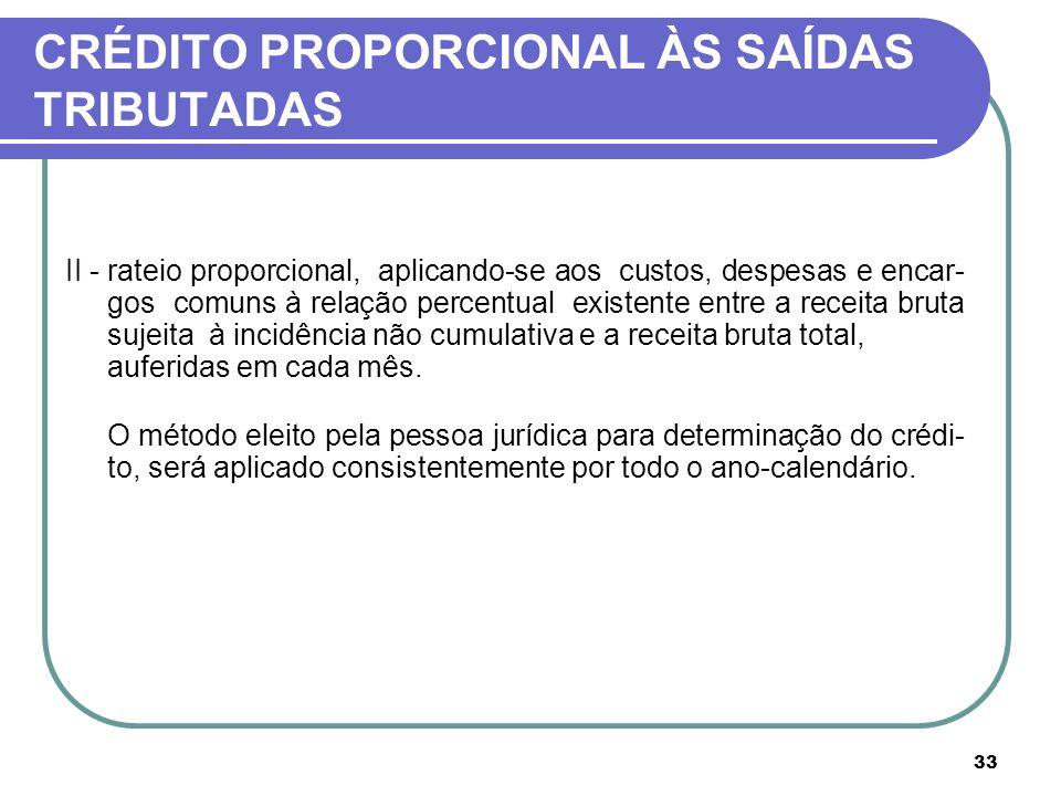 33 CRÉDITO PROPORCIONAL ÀS SAÍDAS TRIBUTADAS II -rateio proporcional, aplicando-se aos custos, despesas e encar- gos comuns à relação percentual exist