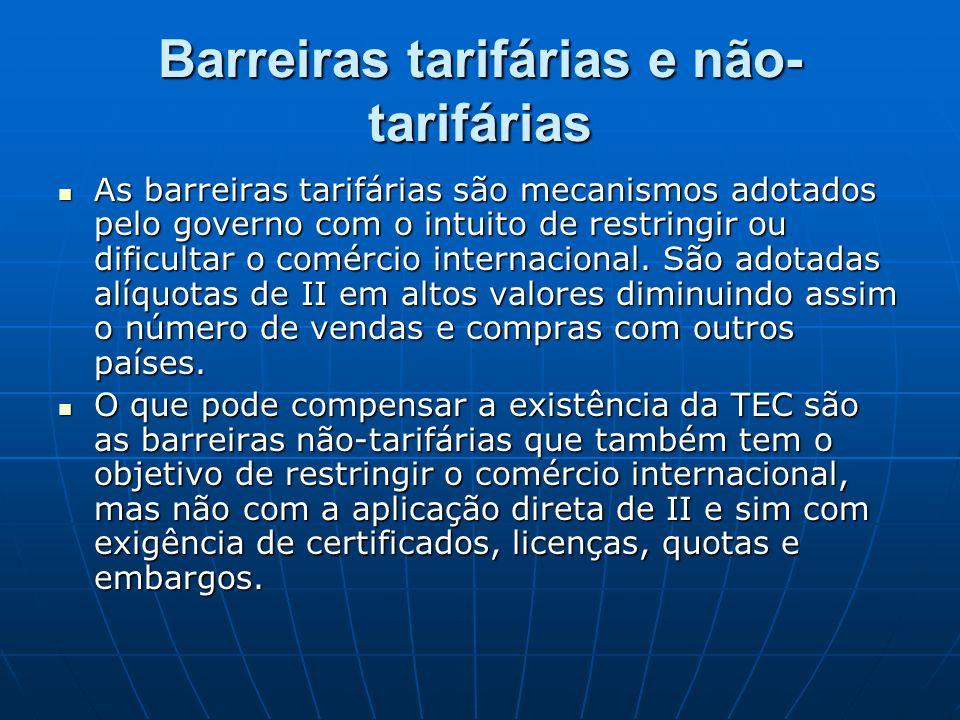 Barreiras tarifárias e não- tarifárias As barreiras tarifárias são mecanismos adotados pelo governo com o intuito de restringir ou dificultar o comérc