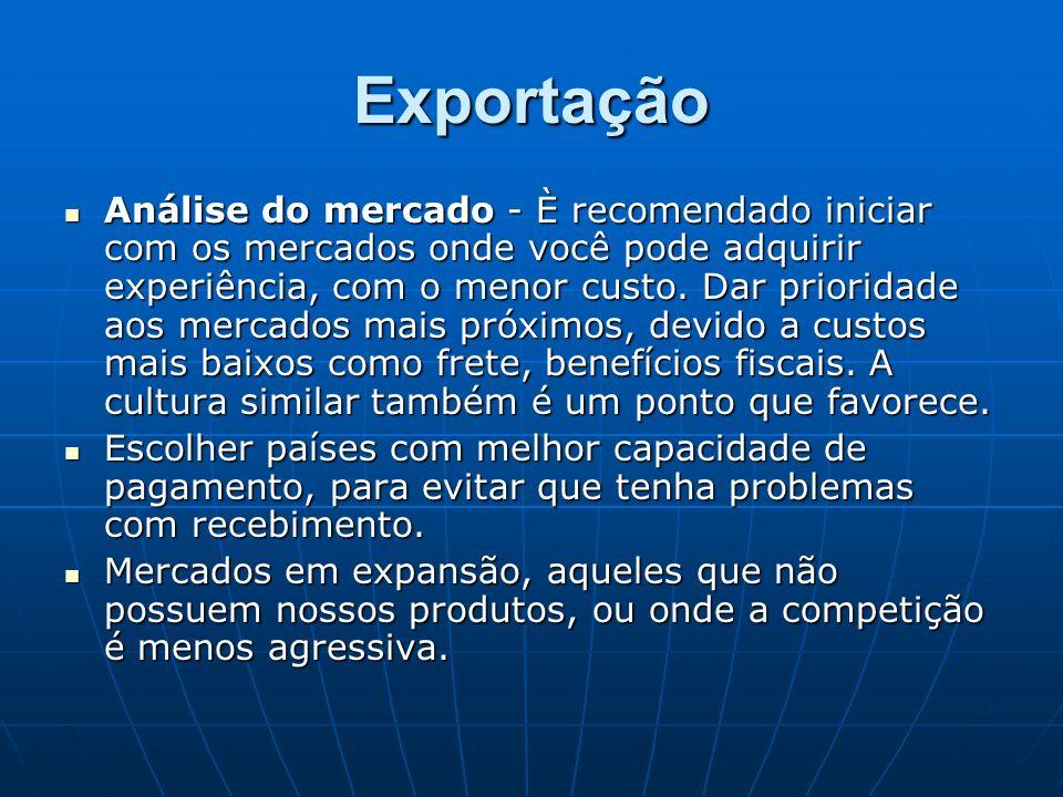 Exportação Análise do mercado - È recomendado iniciar com os mercados onde você pode adquirir experiência, com o menor custo. Dar prioridade aos merca