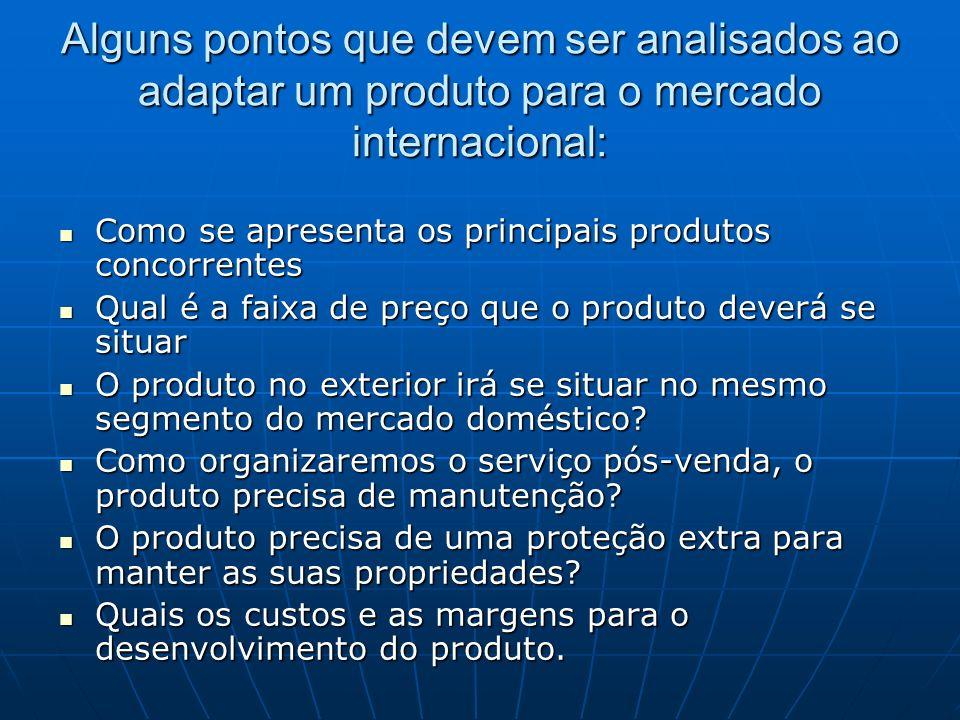 Alguns pontos que devem ser analisados ao adaptar um produto para o mercado internacional: Como se apresenta os principais produtos concorrentes Como