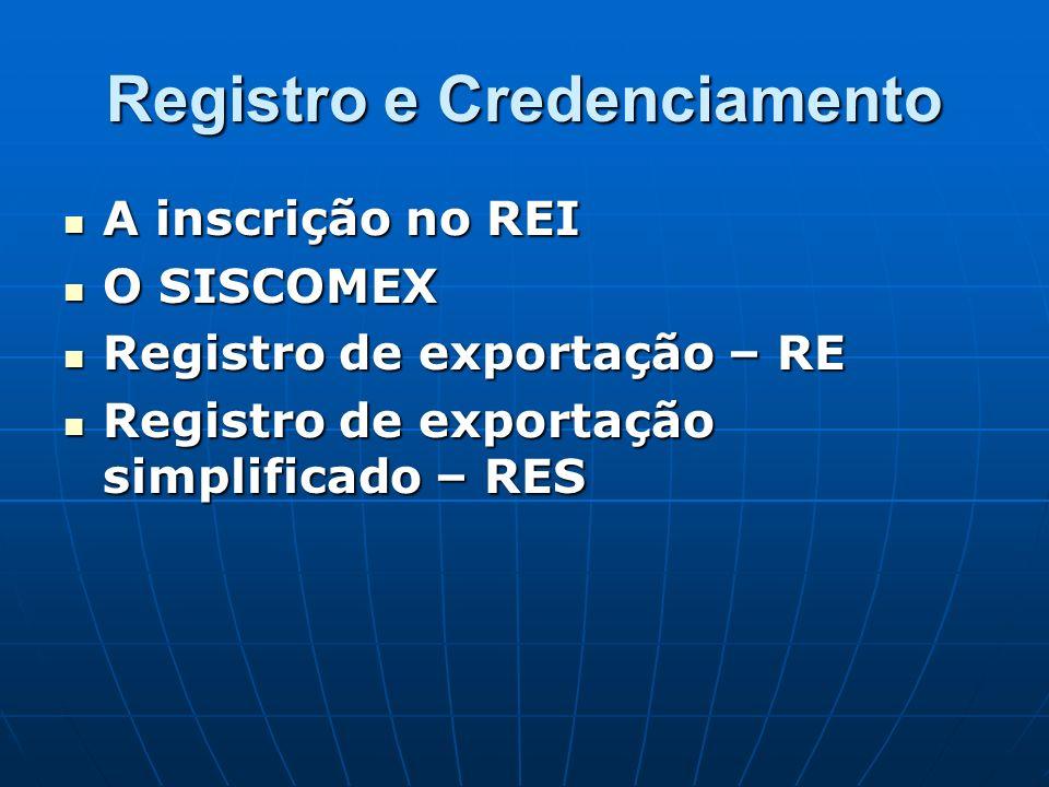 Registro e Credenciamento A inscrição no REI A inscrição no REI O SISCOMEX O SISCOMEX Registro de exportação – RE Registro de exportação – RE Registro