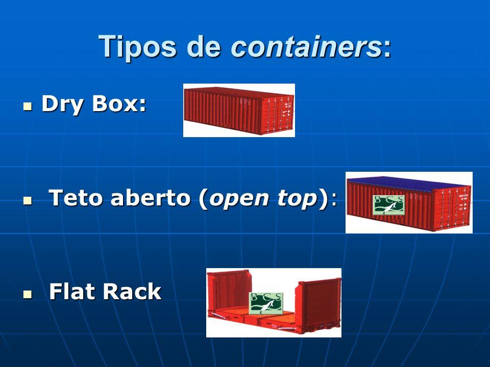 Tipos de containers: Dry Box: Dry Box: Teto aberto (open top): Teto aberto (open top): Flat Rack Flat Rack