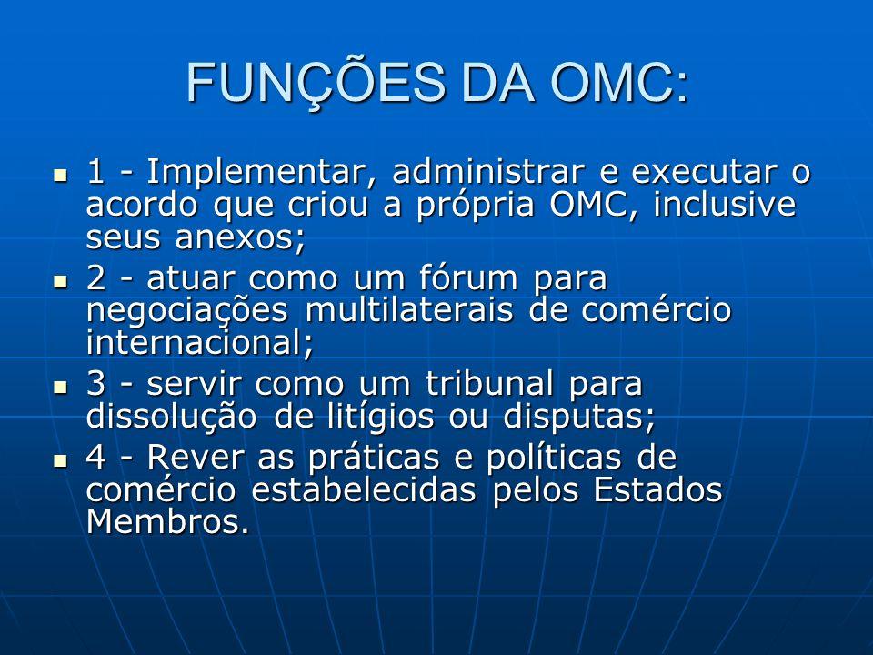 FUNÇÕES DA OMC: 1 - Implementar, administrar e executar o acordo que criou a própria OMC, inclusive seus anexos; 1 - Implementar, administrar e execut