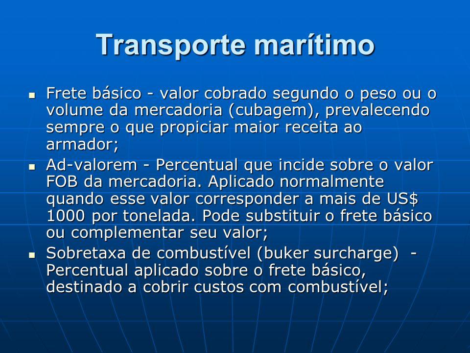 Transporte marítimo Frete básico - valor cobrado segundo o peso ou o volume da mercadoria (cubagem), prevalecendo sempre o que propiciar maior receita