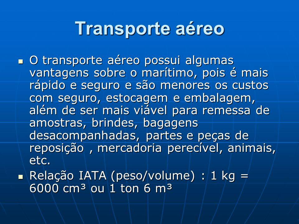 Transporte aéreo O transporte aéreo possui algumas vantagens sobre o marítimo, pois é mais rápido e seguro e são menores os custos com seguro, estocag