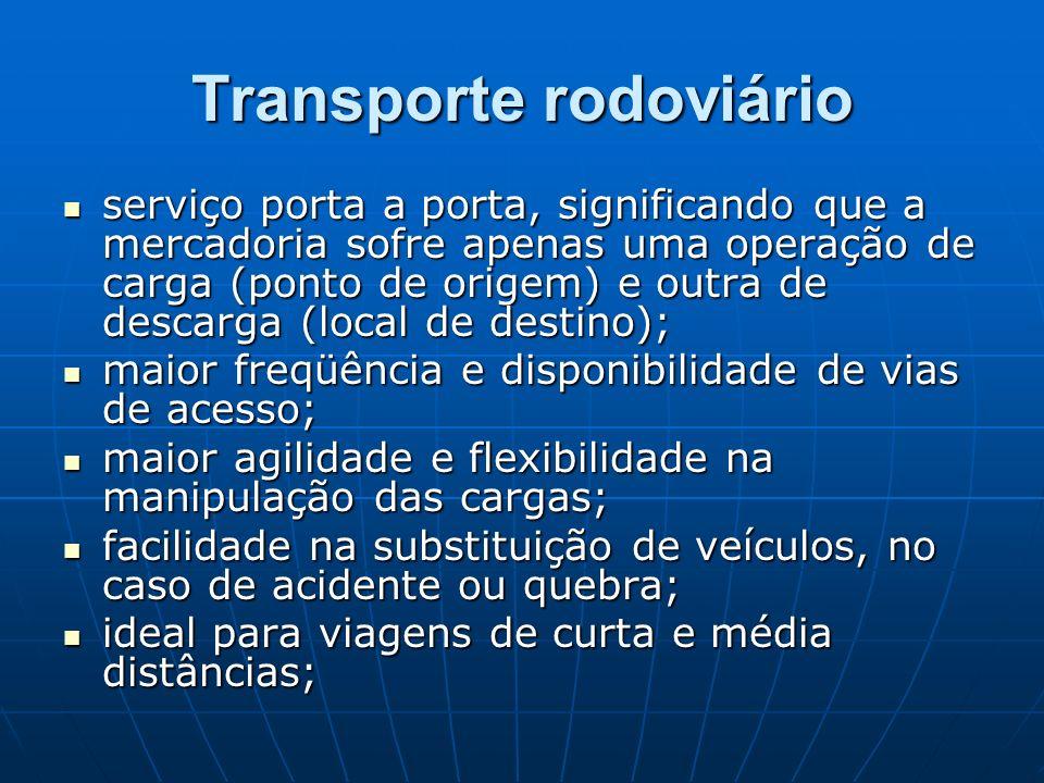 Transporte rodoviário serviço porta a porta, significando que a mercadoria sofre apenas uma operação de carga (ponto de origem) e outra de descarga (l