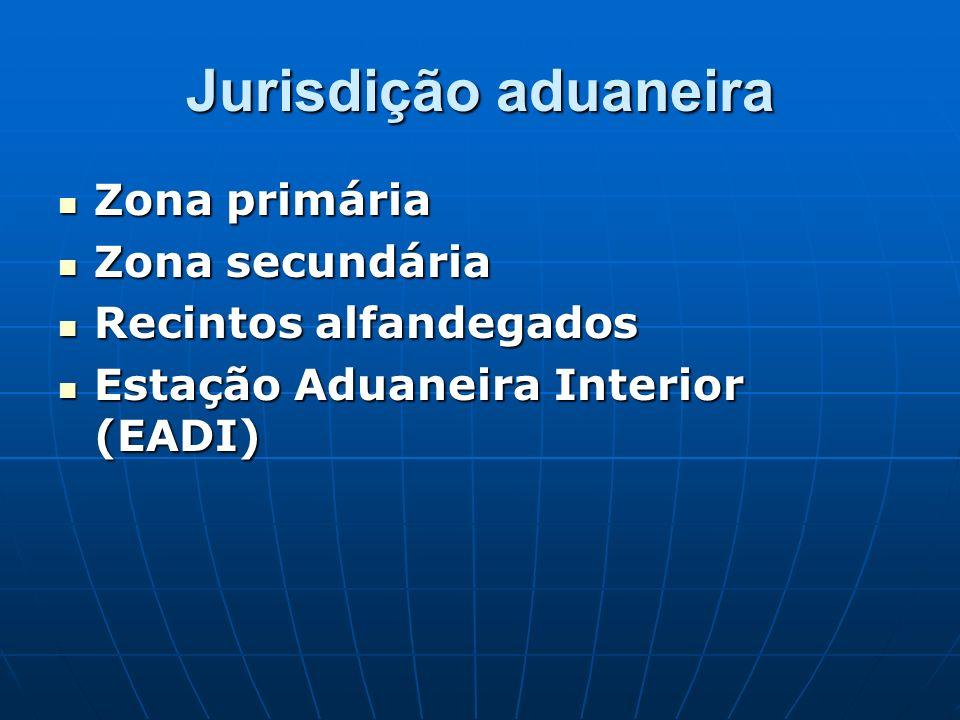 Jurisdição aduaneira Zona primária Zona primária Zona secundária Zona secundária Recintos alfandegados Recintos alfandegados Estação Aduaneira Interio