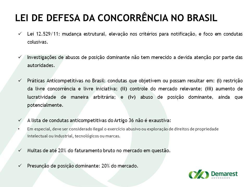 LEI DE DEFESA DA CONCORRÊNCIA NO BRASIL Lei 12.529/11: mudança estrutural, elevação nos critérios para notificação, e foco em condutas colusivas. Inve