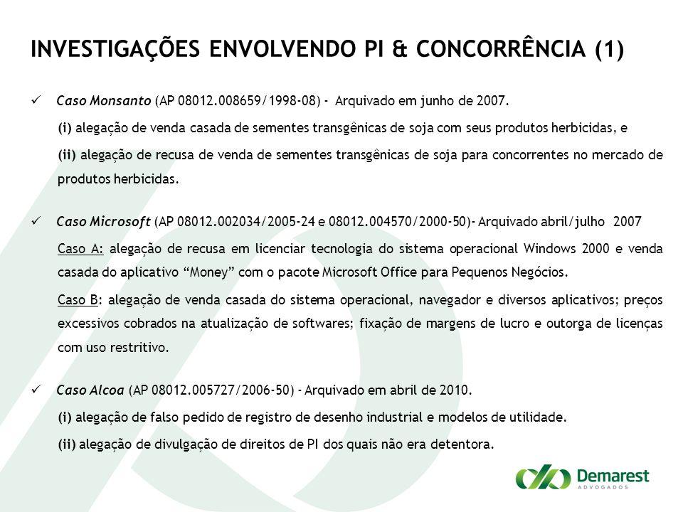INVESTIGAÇÕES ENVOLVENDO PI & CONCORRÊNCIA (1) Caso Monsanto (AP 08012.008659/1998-08) - Arquivado em junho de 2007. (i) alegação de venda casada de s
