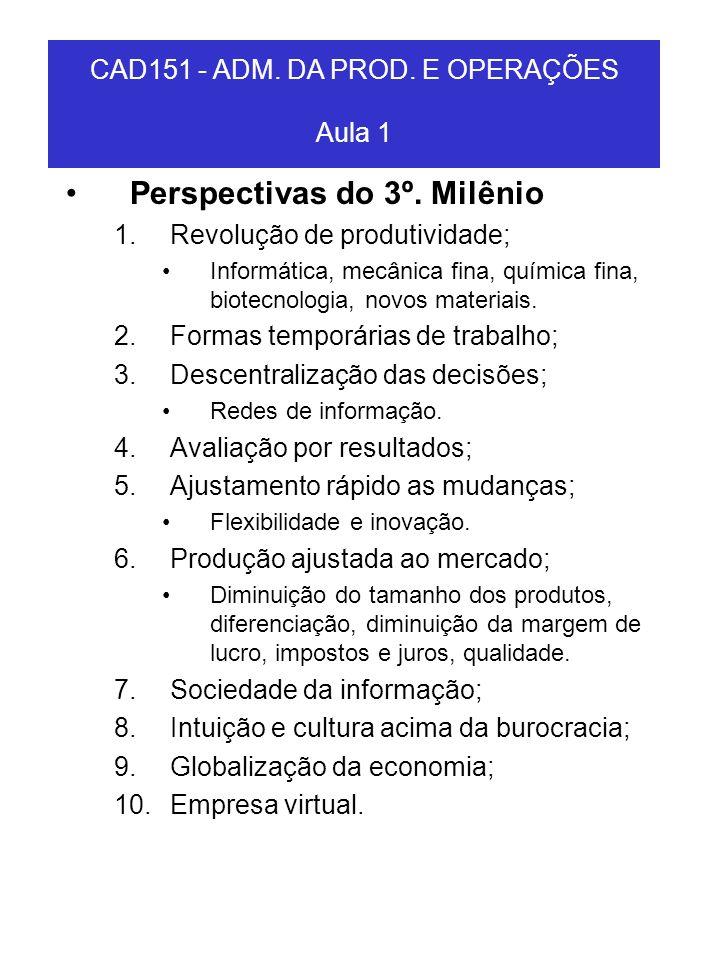 CAD151 - ADM. DA PROD. E OPERAÇÕES Aula 1 Perspectivas do 3º. Milênio 1.Revolução de produtividade; Informática, mecânica fina, química fina, biotecno