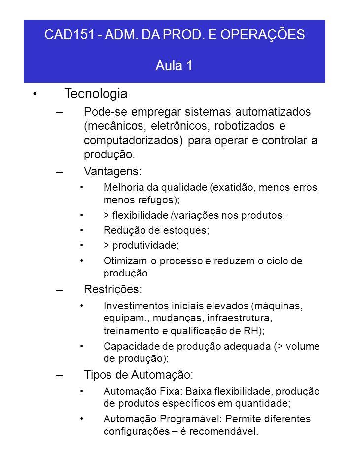 CAD151 - ADM. DA PROD. E OPERAÇÕES Aula 1 Tecnologia –Pode-se empregar sistemas automatizados (mecânicos, eletrônicos, robotizados e computadorizados)