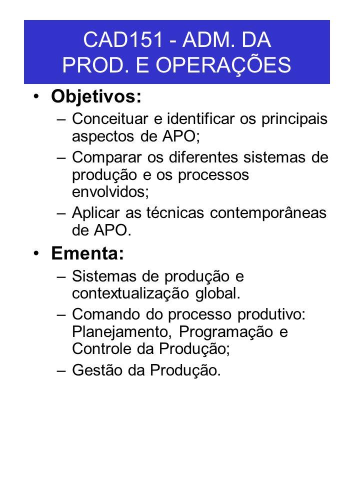 CAD151 - ADM. DA PROD. E OPERAÇÕES Objetivos: –Conceituar e identificar os principais aspectos de APO; –Comparar os diferentes sistemas de produção e