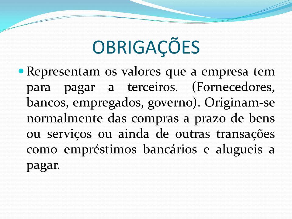 OBRIGAÇÕES Representam os valores que a empresa tem para pagar a terceiros. (Fornecedores, bancos, empregados, governo). Originam-se normalmente das c