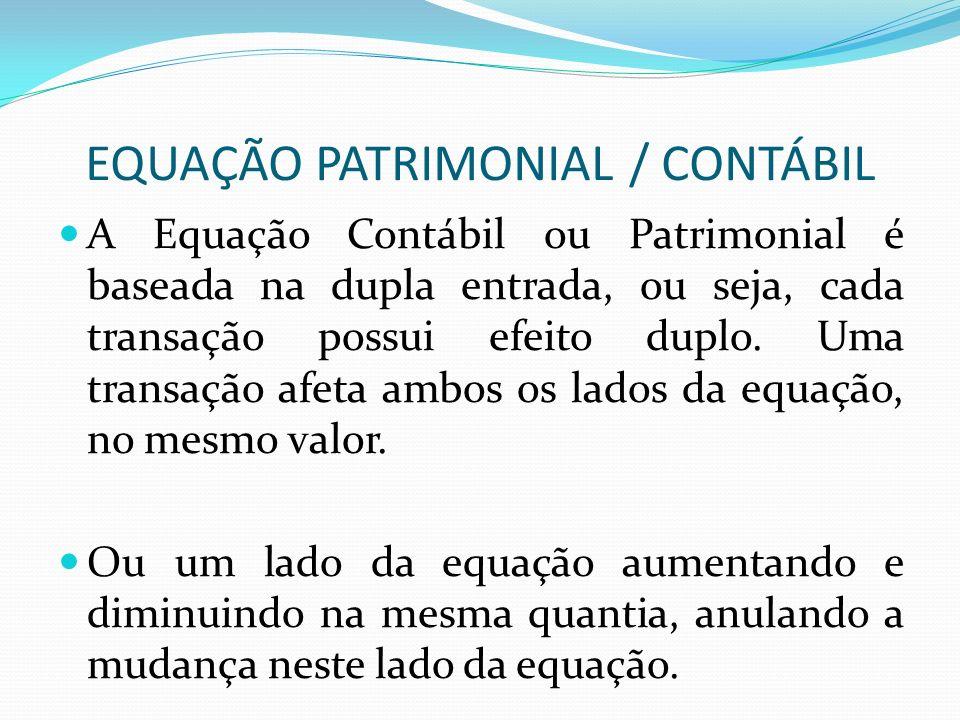 EQUAÇÃO PATRIMONIAL / CONTÁBIL A Equação Contábil ou Patrimonial é baseada na dupla entrada, ou seja, cada transação possui efeito duplo. Uma transaçã