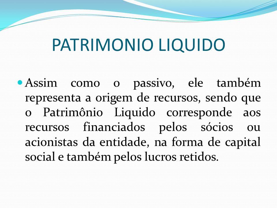 PATRIMONIO LIQUIDO Assim como o passivo, ele também representa a origem de recursos, sendo que o Patrimônio Liquido corresponde aos recursos financiad