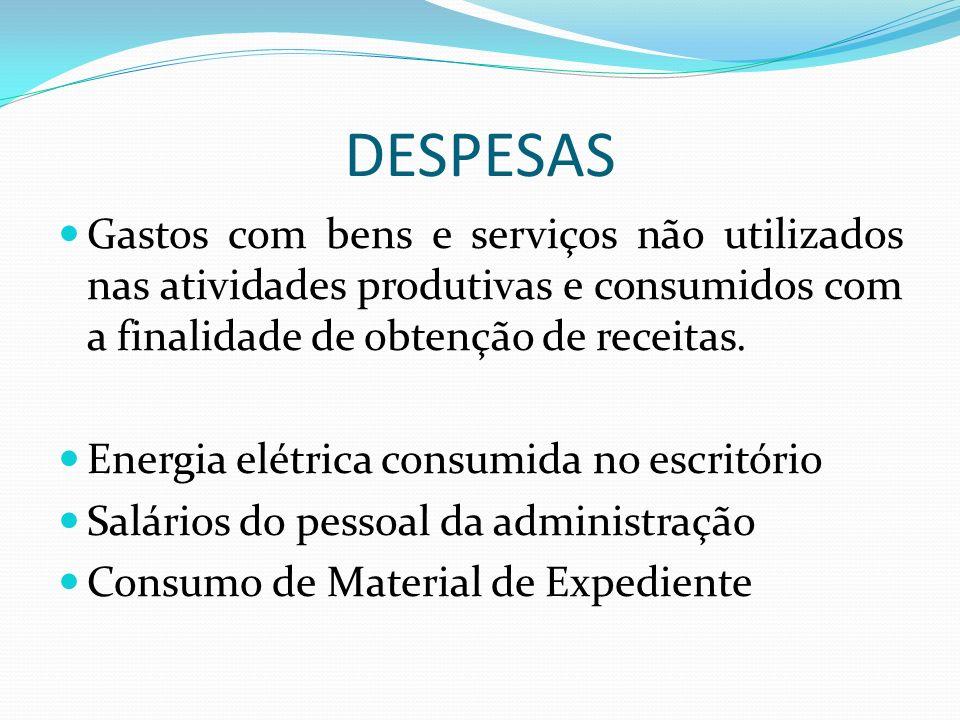 DESPESAS Gastos com bens e serviços não utilizados nas atividades produtivas e consumidos com a finalidade de obtenção de receitas. Energia elétrica c