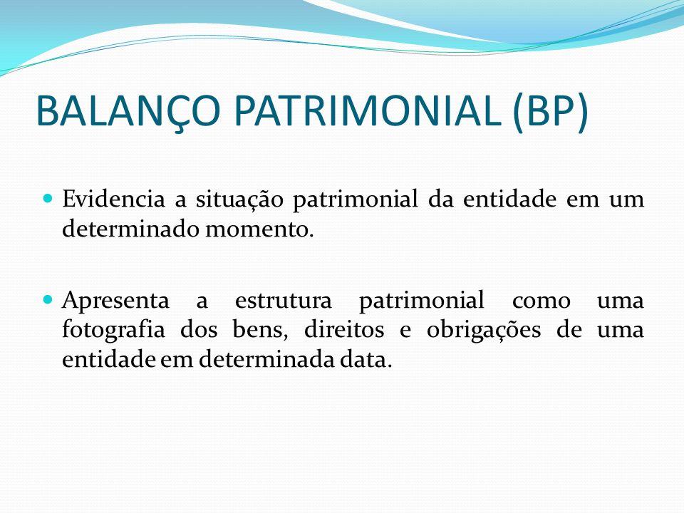 BALANÇO PATRIMONIAL (BP) Evidencia a situação patrimonial da entidade em um determinado momento. Apresenta a estrutura patrimonial como uma fotografia