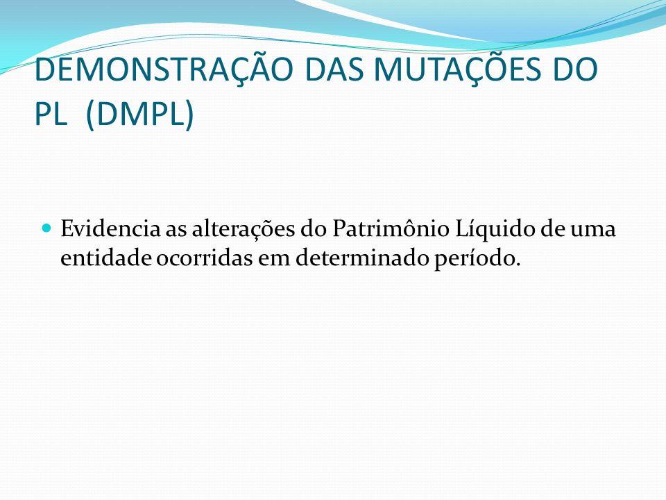 DEMONSTRAÇÃO DAS MUTAÇÕES DO PL (DMPL) Evidencia as alterações do Patrimônio Líquido de uma entidade ocorridas em determinado período.