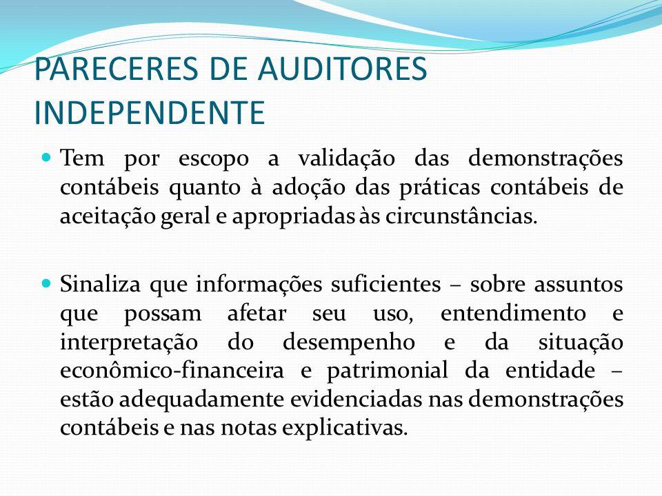 PARECERES DE AUDITORES INDEPENDENTE Tem por escopo a validação das demonstrações contábeis quanto à adoção das práticas contábeis de aceitação geral e