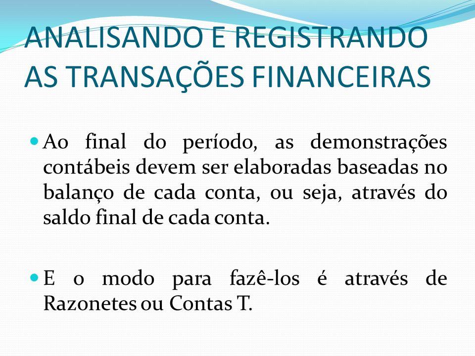 ANALISANDO E REGISTRANDO AS TRANSAÇÕES FINANCEIRAS Ao final do período, as demonstrações contábeis devem ser elaboradas baseadas no balanço de cada co