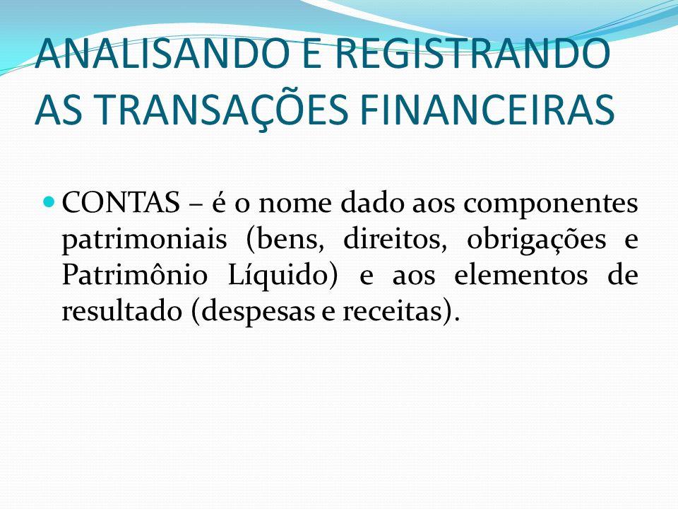 ANALISANDO E REGISTRANDO AS TRANSAÇÕES FINANCEIRAS CONTAS – é o nome dado aos componentes patrimoniais (bens, direitos, obrigações e Patrimônio Líquid