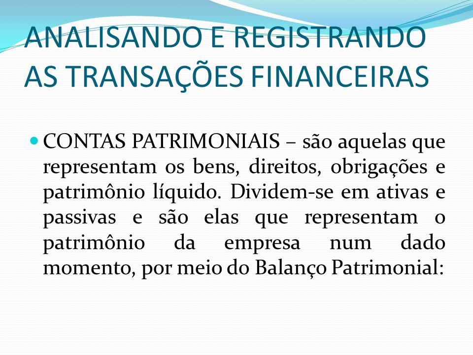ANALISANDO E REGISTRANDO AS TRANSAÇÕES FINANCEIRAS CONTAS PATRIMONIAIS – são aquelas que representam os bens, direitos, obrigações e patrimônio líquid