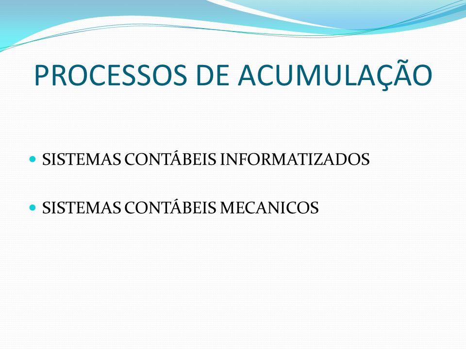 PROCESSOS DE ACUMULAÇÃO SISTEMAS CONTÁBEIS INFORMATIZADOS SISTEMAS CONTÁBEIS MECANICOS