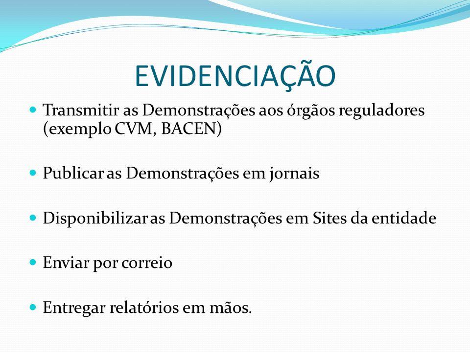 EVIDENCIAÇÃO Transmitir as Demonstrações aos órgãos reguladores (exemplo CVM, BACEN) Publicar as Demonstrações em jornais Disponibilizar as Demonstraç