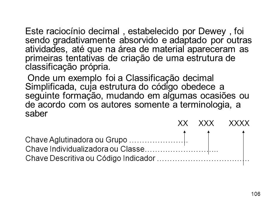 106 Este raciocínio decimal, estabelecido por Dewey, foi sendo gradativamente absorvido e adaptado por outras atividades, até que na área de material apareceram as primeiras tentativas de criação de uma estrutura de classificação própria.