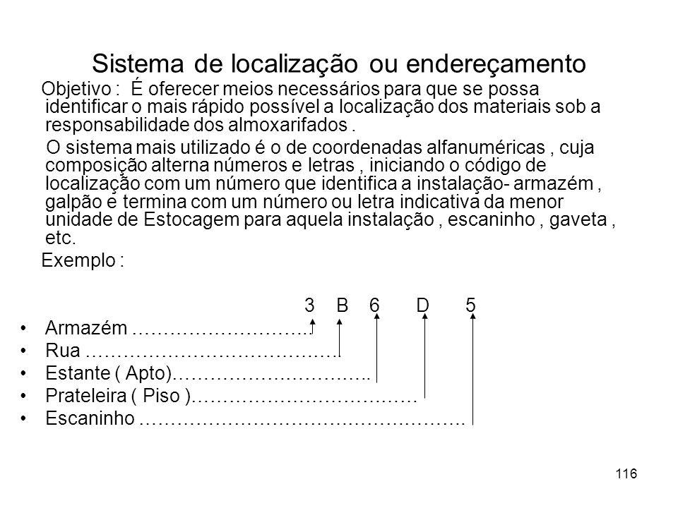 116 Sistema de localização ou endereçamento Objetivo : É oferecer meios necessários para que se possa identificar o mais rápido possível a localização dos materiais sob a responsabilidade dos almoxarifados.